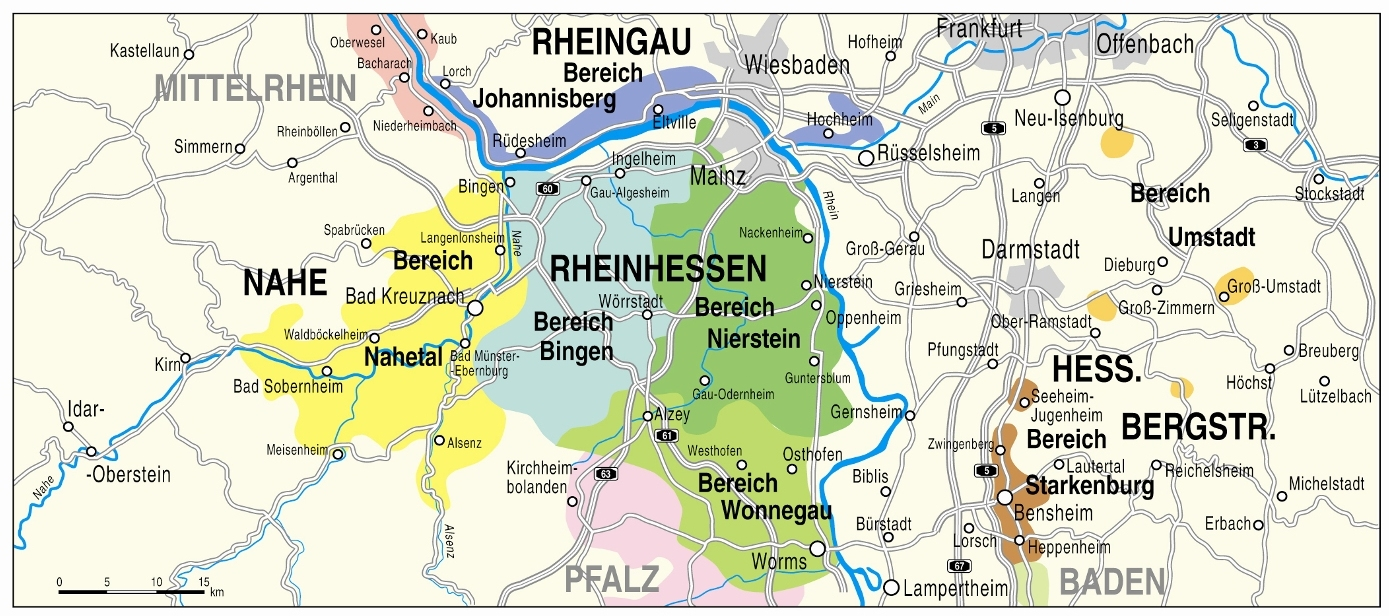 Map of the region Rheinhessen