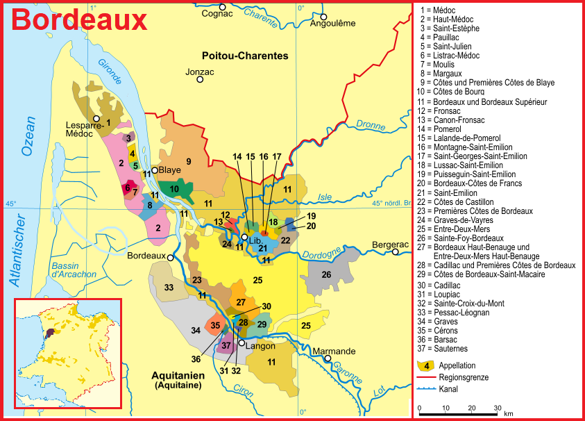 Map of Bordeaux with appellations - u. a. also Saint-Émilion