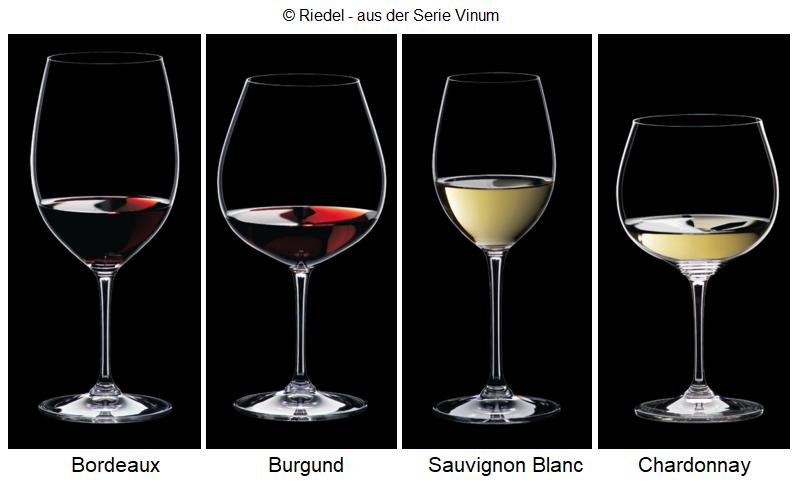 Drinking glasses: Bordeaux, Burgundy, Sauvignon Blanc, Chardonnay