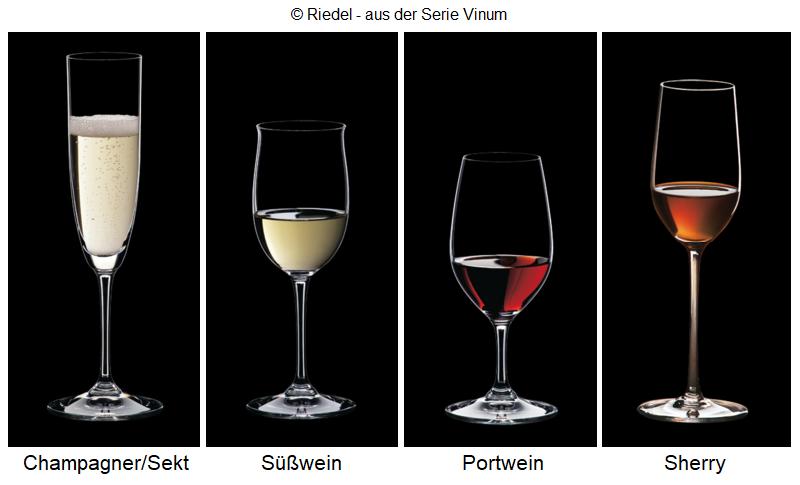 Trinkgläser: Champagner/Sekt, Süßwein, Portwein, Sherry