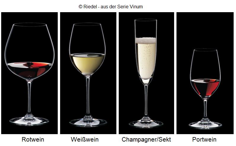 Glasses Riedel Vinum: red wine, white wine, sparkling wine, port wine