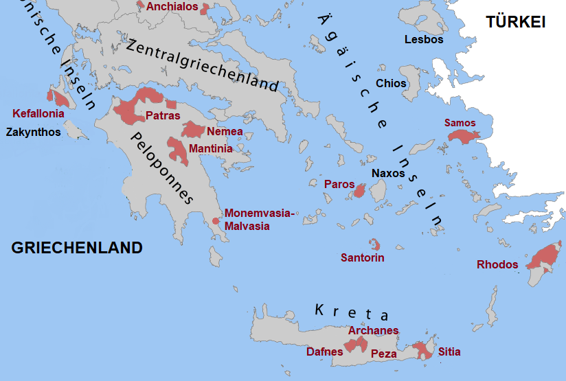 Map Greece - Aegean Islands with Rhodes