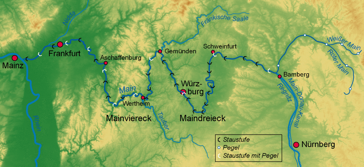 Main - river course with Maindreieck and Mainviereck