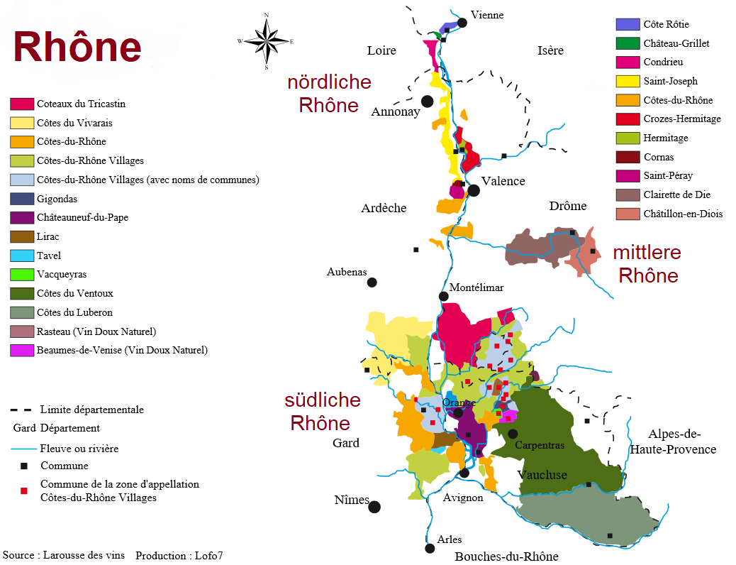 Rhône - map with all appellations