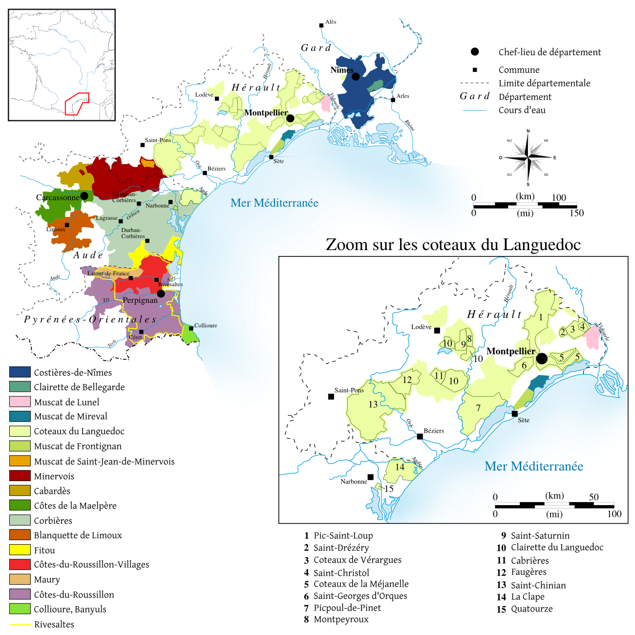 Map of Languedoc-Roussillon with all appellations