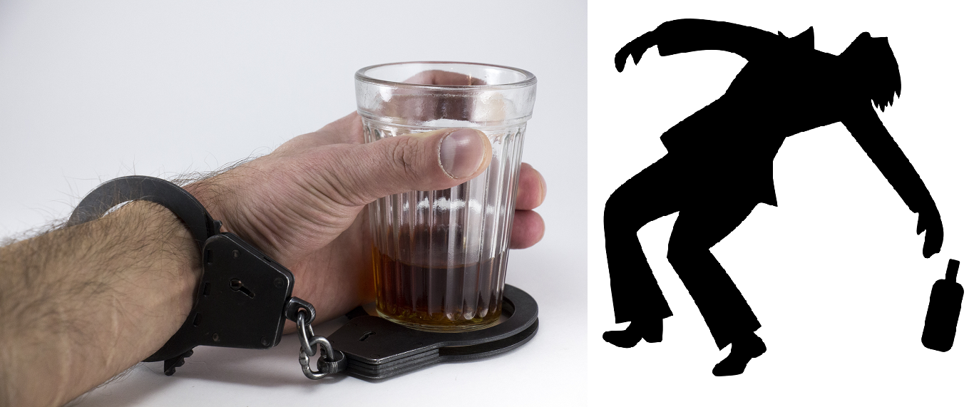 Hand with handcuff and shot glass / drunk man