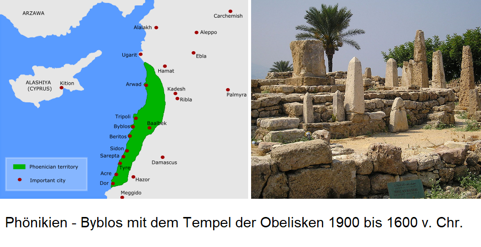 Phenicia - Map / Temple of the Obelisks 1900 to 1600 BC Chr.