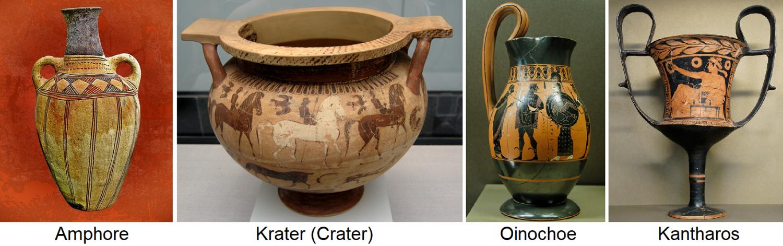 Ceramic wine vessels - amphora, crater (crater), oinochoe, kantharos