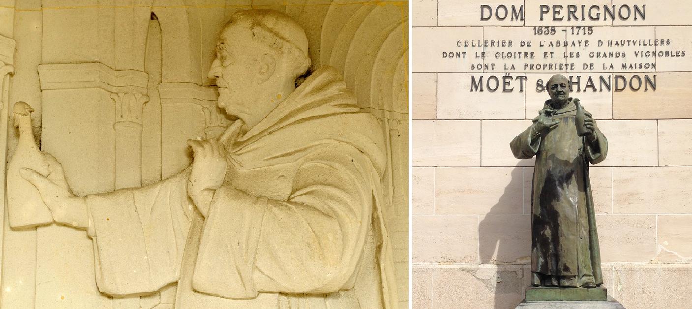 Dom Pierre Pérignon - fresco and statue