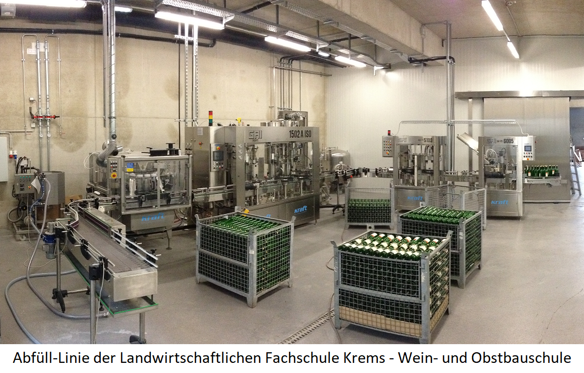 Filling line of the agricultural college Krems - wine and fruit school