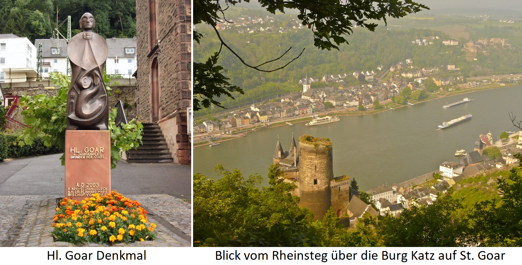 Goar - St. Goar monument and view from Rheinsteg over Katz castle to the community of St. Goar