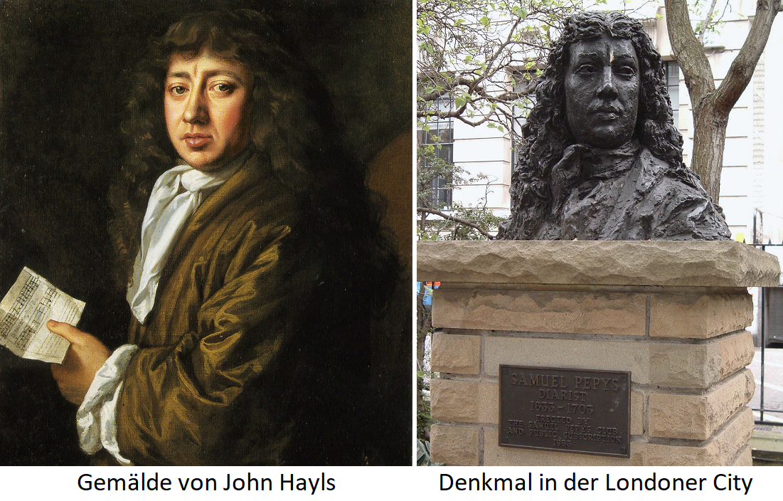 Samuel Pepys - Painting by John Hayls and monument in the City of London