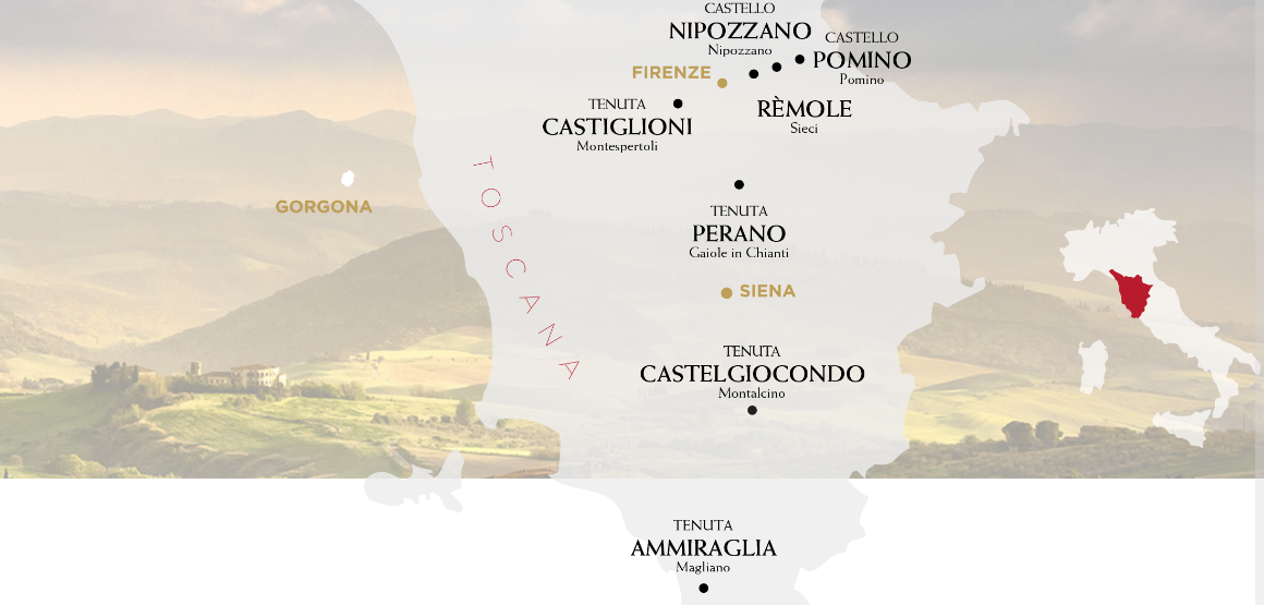 Frescobalsi - Map of Tuscany with the wineries