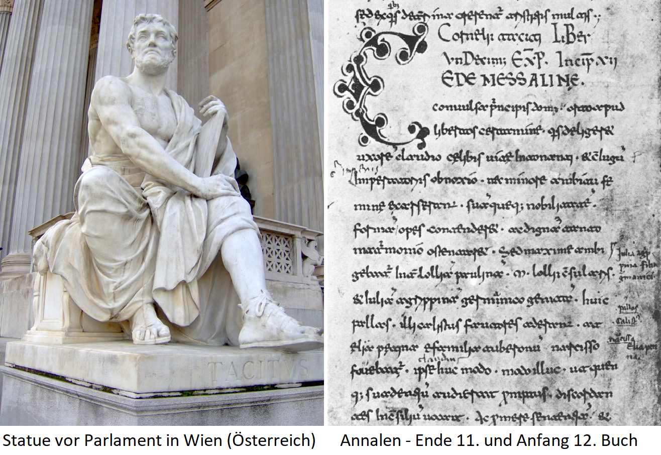 Tacitus statue in front of the parliament in Vienna (Austria) and page from the annals