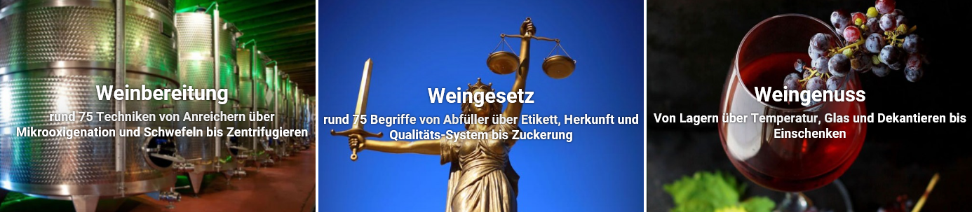 Weinglossar - Topic portals winemaking, wine law, wine enjoyment