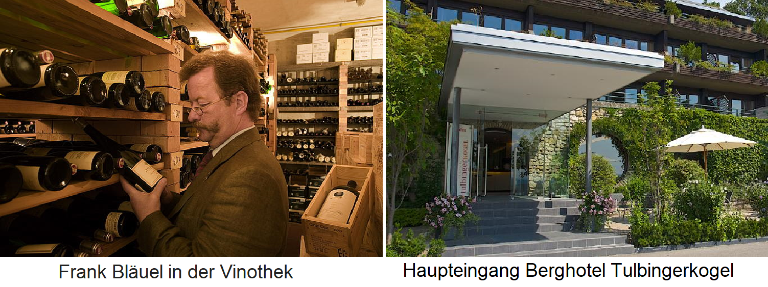 Wine with meals - Tulbingerkogel - vinotheque and main entrance