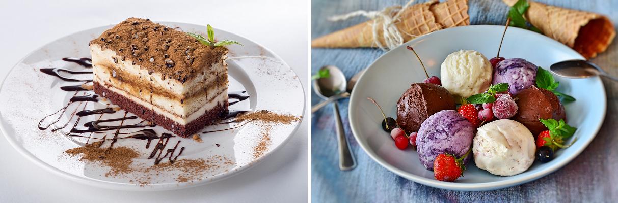 Wine with dishes - desserts (tiramisu and ice cream)