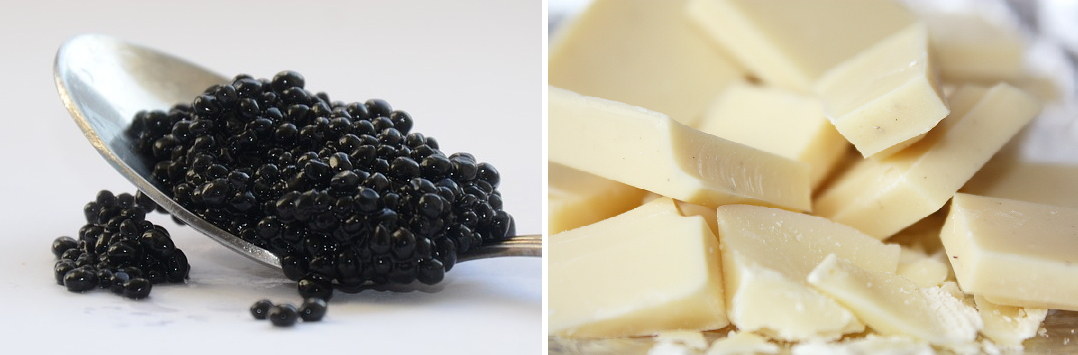 Foodpairing white chocolate and caviar