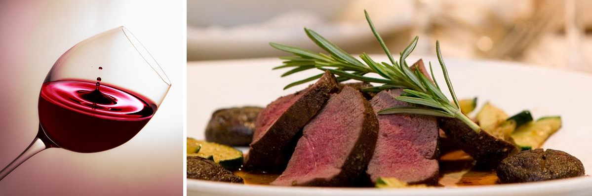 Wedin to dine - red wine glass and roast venison