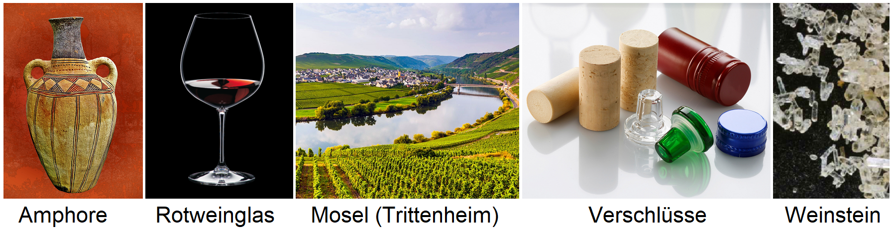 Weinglossar Tags - amphora, red wine glass, Moselle (Trittenheim), closures, tartar