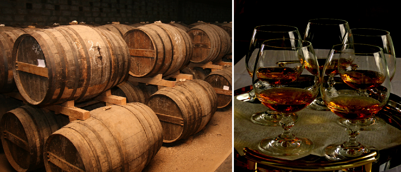 Cognac - barrels and glasses