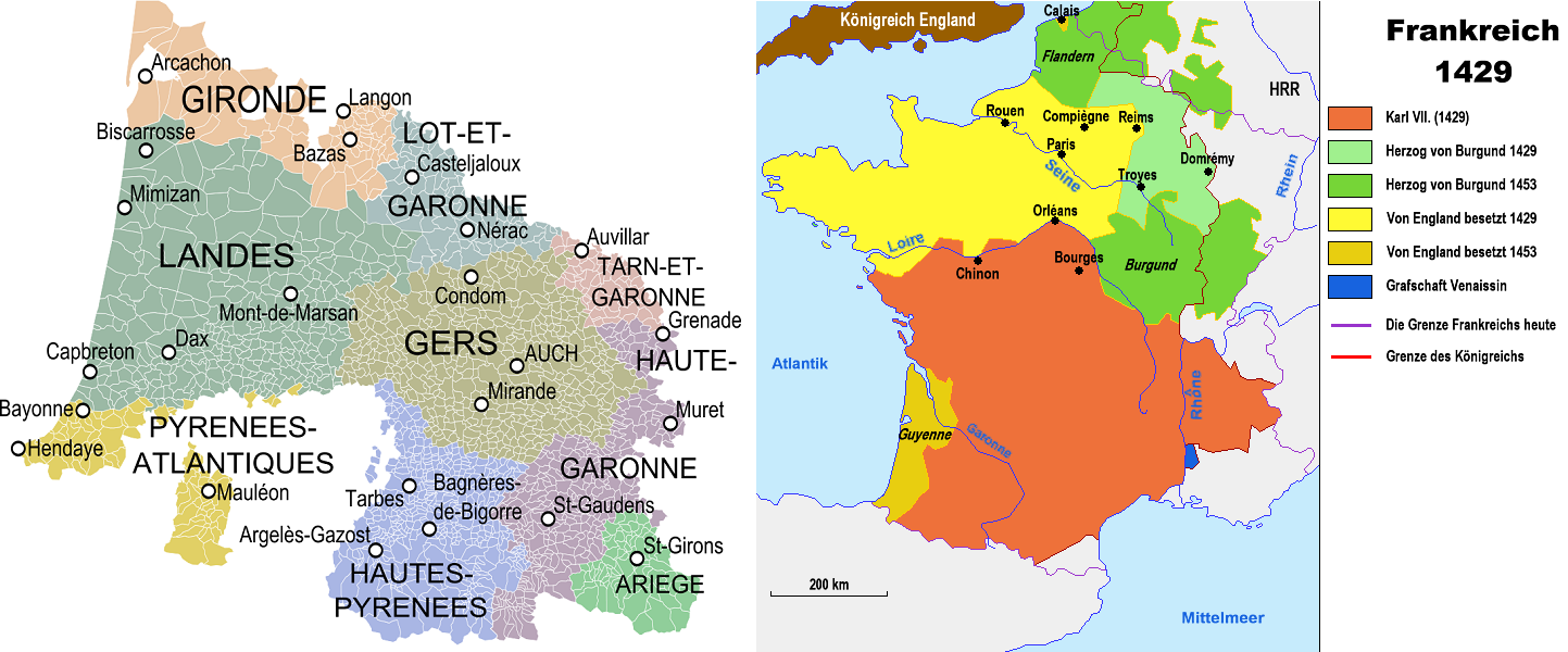 Gascogne - historical province and domains 1429