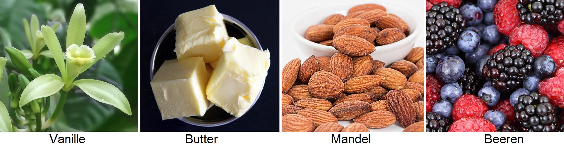Flavorings - vanilla, butter, almonds, berries