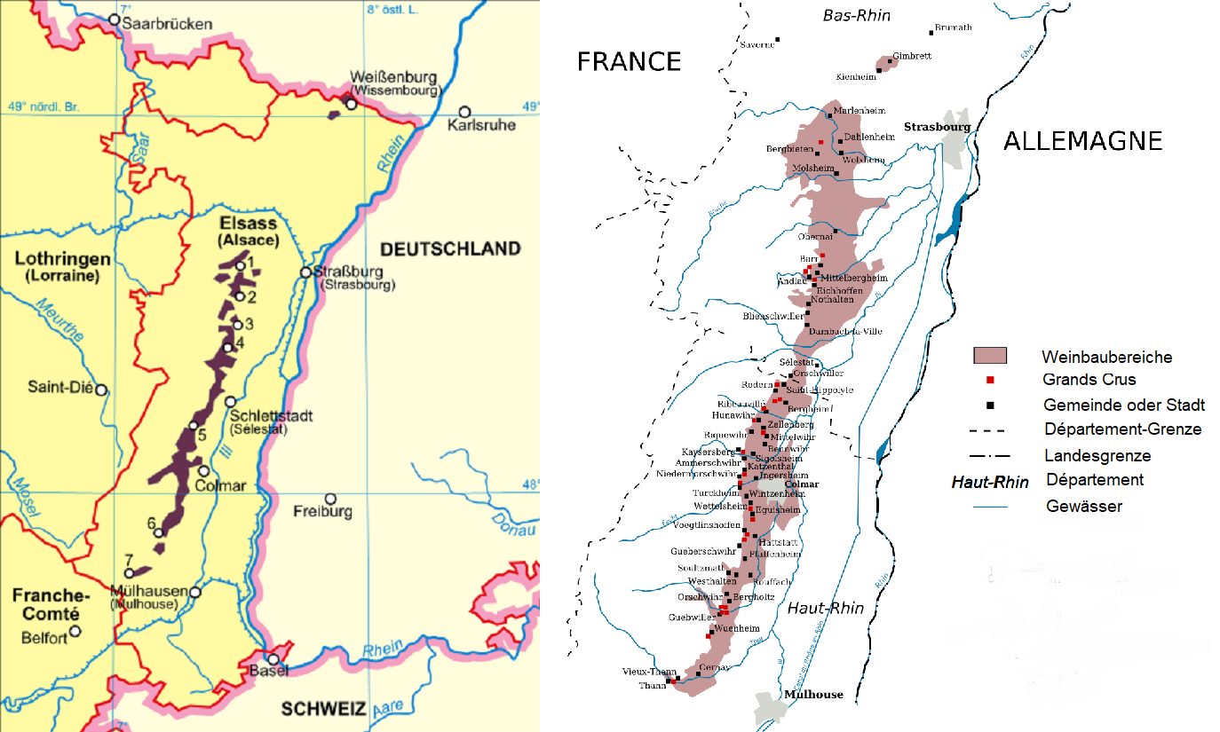 Alscae Grand Cru - Map Alsace and map with the Grands Crus
