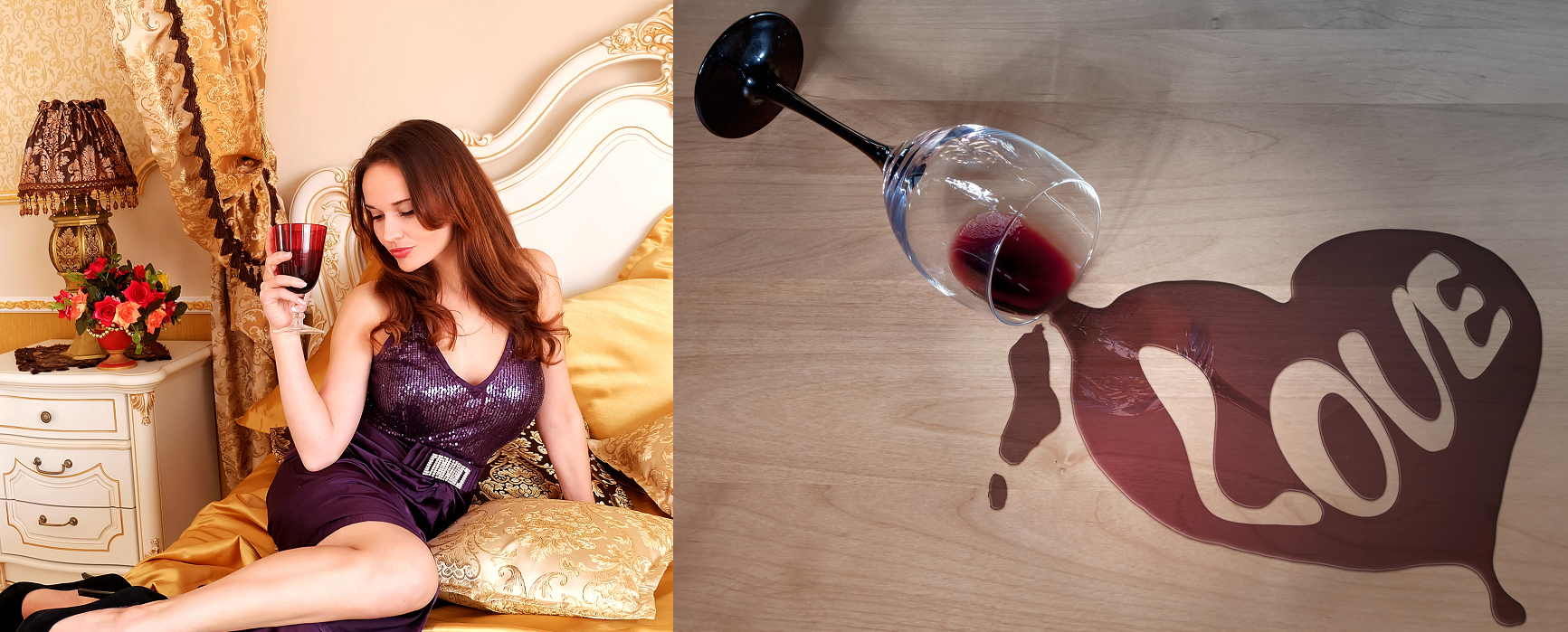 Aphrodisiac - woman with glass / overturned red wine gals with text