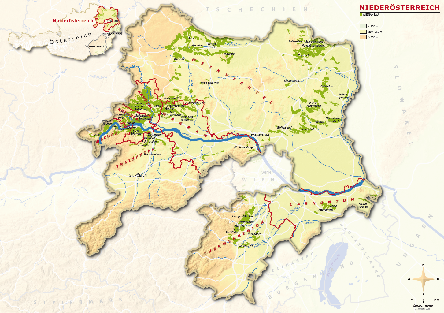 Lower Austria - Map with the 9 wine regions