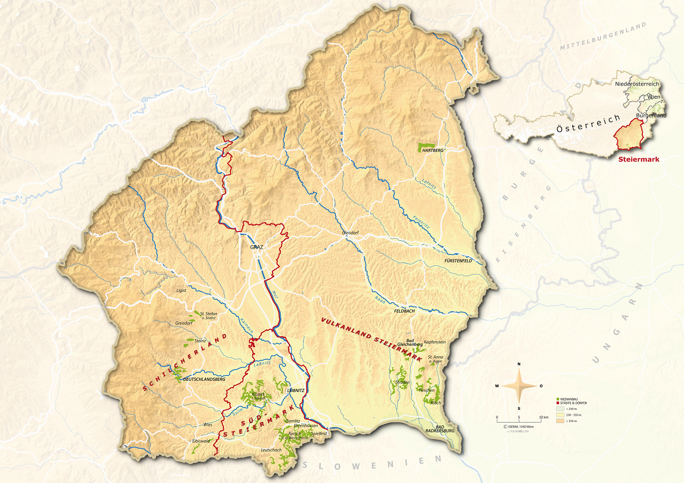 Styria - Map with wine regions