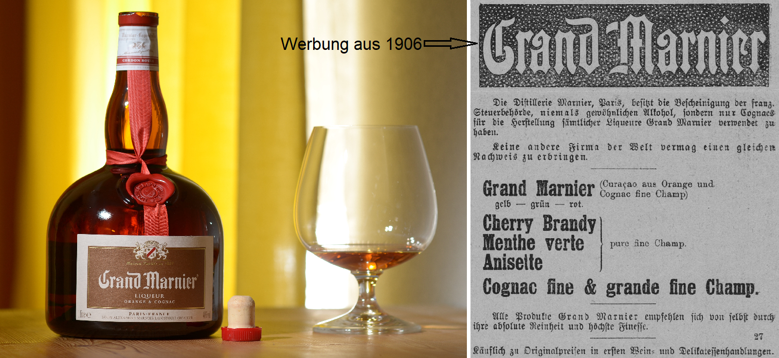 Marnier-Lapostolle - Grand Marnier bottle and advertisement from 1906