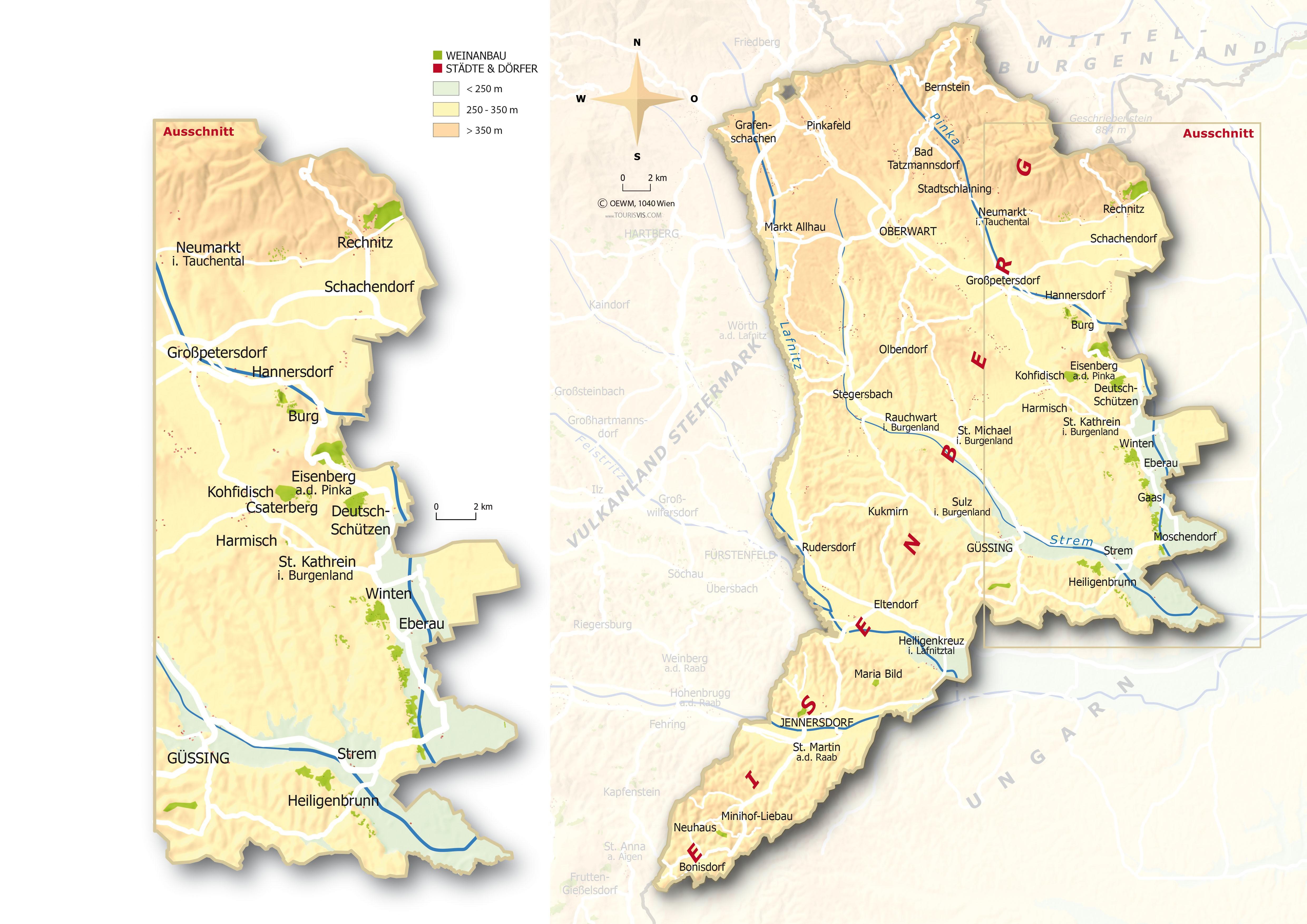 Eisenberg - Map with vineyards