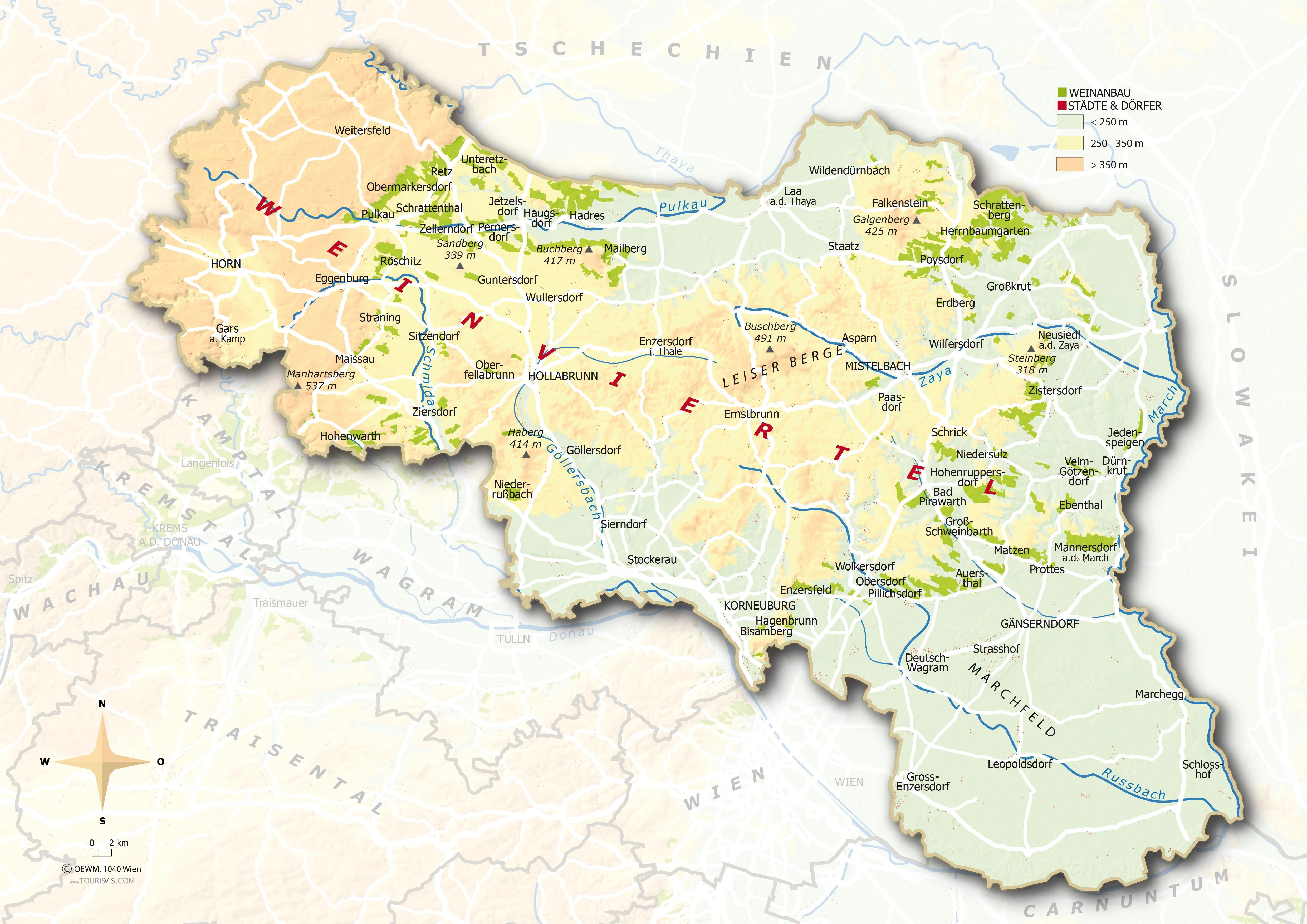 Weinviertel - Map with the vineyards