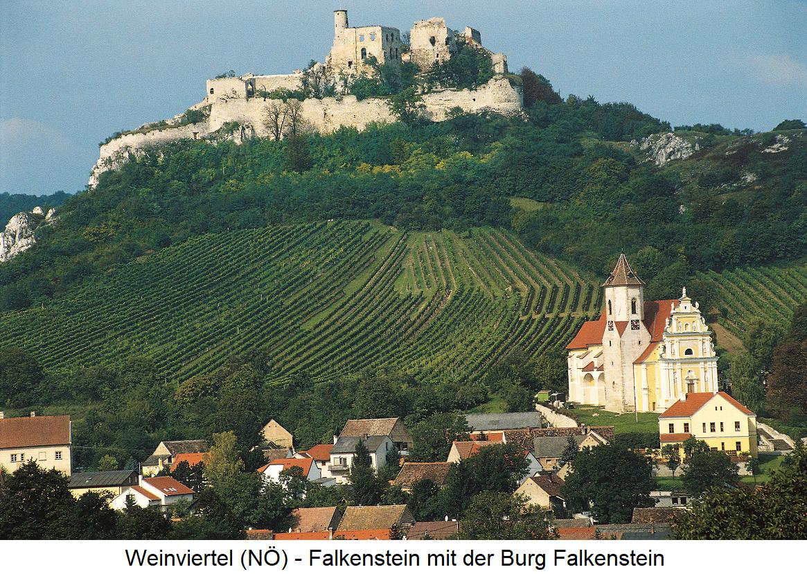 Weinviertel - Falkenstein with the Falkenstein Castle and vineyards