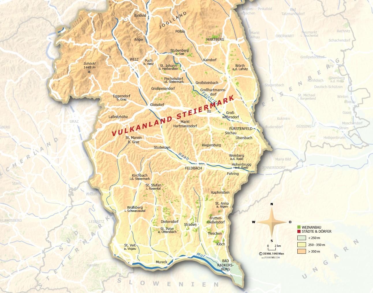 Vulkanland Steiermark - Karte mit Rebflächen