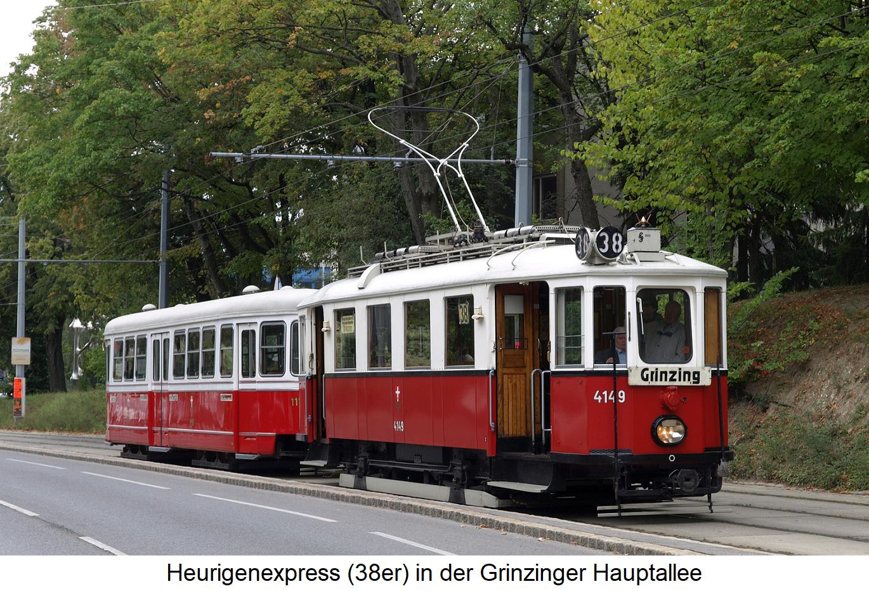Heurigenexpress - the 38er (tram line) in Grinzinger Hauptallee