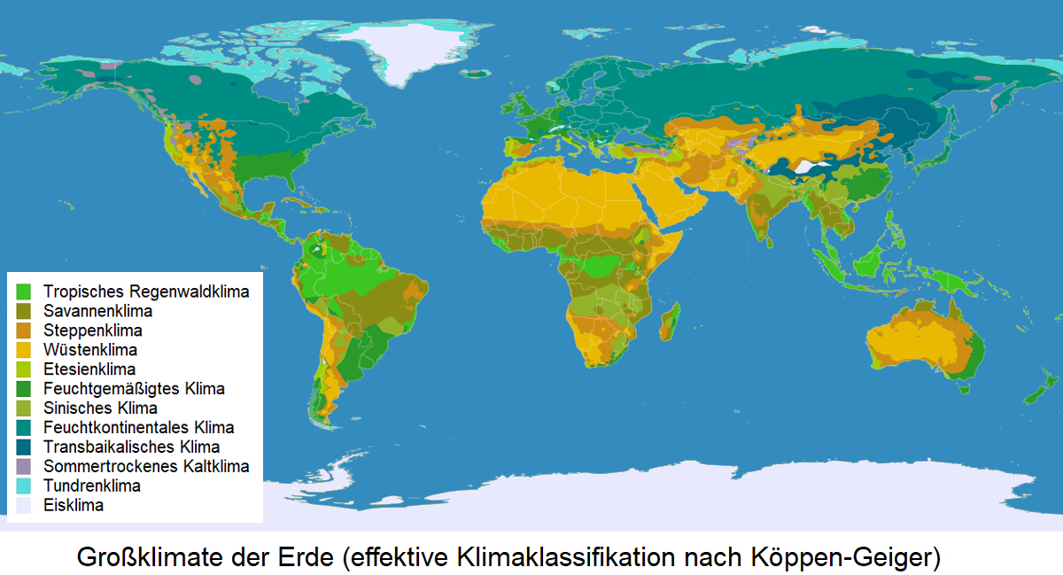 Climate - world map with the large climates according to Köppen-Geiger
