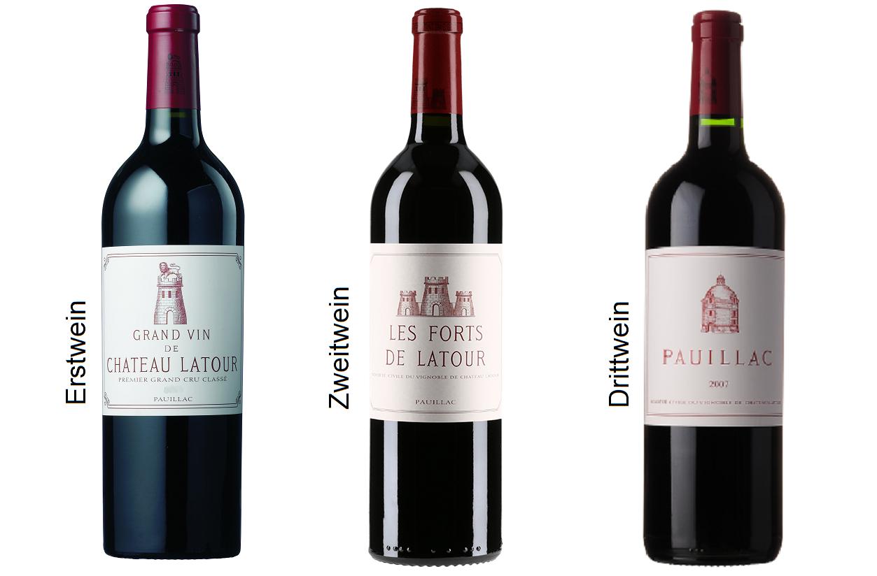 Château Latour - first wine, second wine Les Forts de Latour and third wine Pauillac Latour