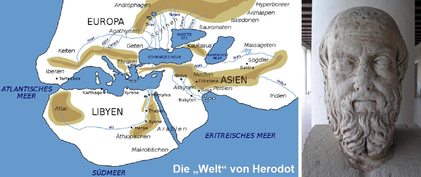 Herodotus - map World of Herodotus and head