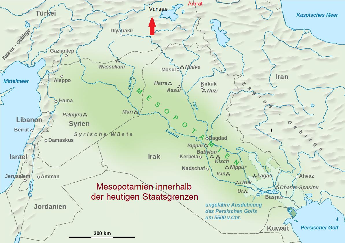 Irak - Karte von Mesopotamien