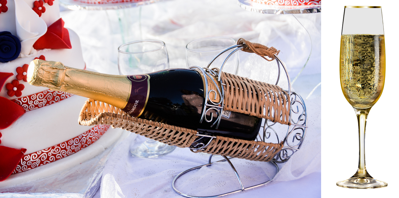 Sparkling wine - bottle in the pouring basket and filled glass