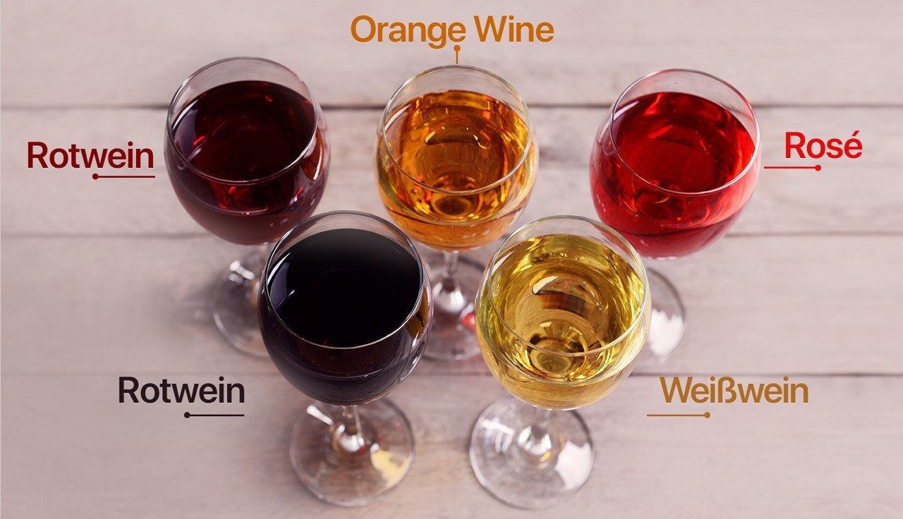 Rosé - wine types red wine, rosé, orange wine, white wine in glasses