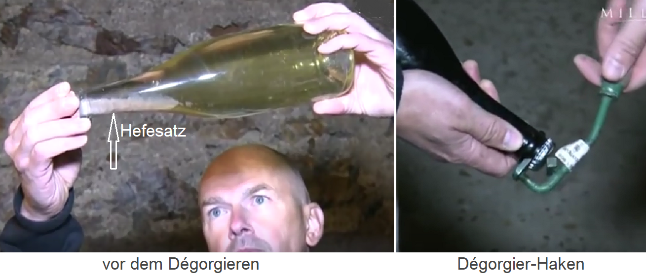 Dégorgement - bottle with yeast set and disgorging hook
