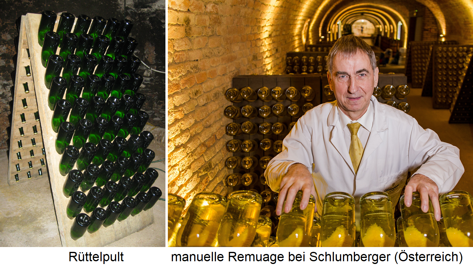 Champagne - Rüttelpult and manual Remuage