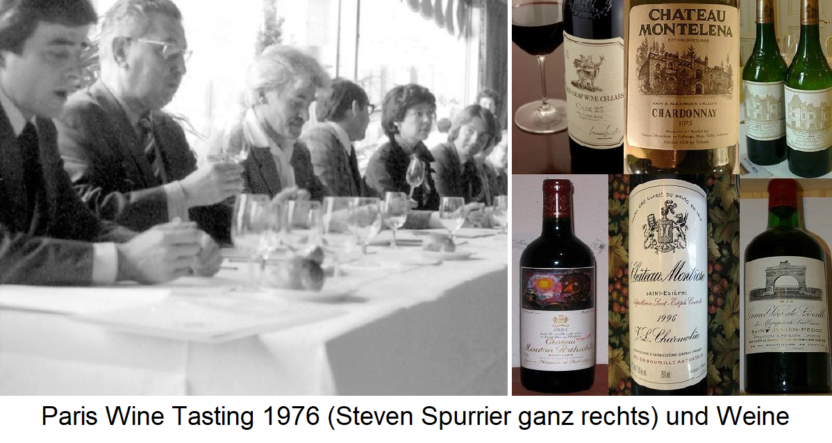 Pasris Wine Tasting - 1976 with jury (Steven Spurrier on the far right) and wines