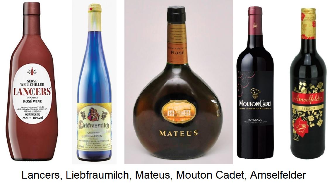 Markenwein - Flaschen:  Lancers, Liebfraumilch, Mateus, Mouton Cadet, Amselfelder