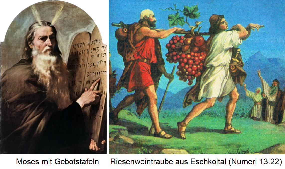 Bible - Moses with bid panels and giant grape from the Eschkoltal (Numbers 13.22)