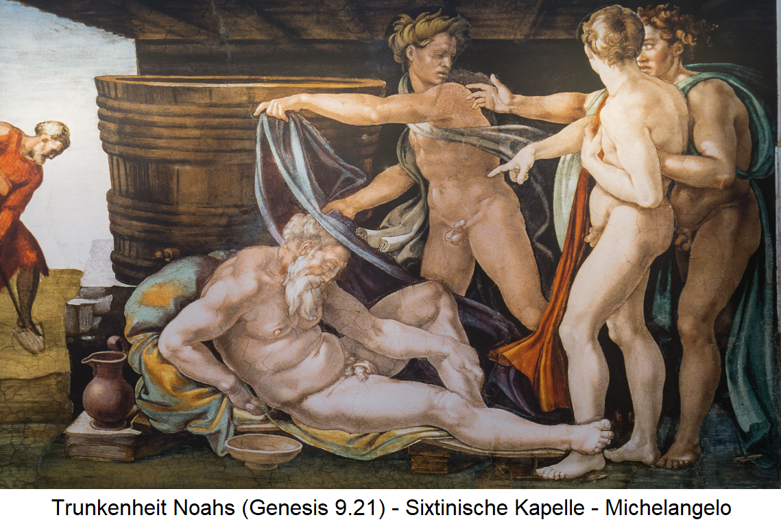 Bible - Drunkenness of Noah (Michelangelo) - Sistine Chapel