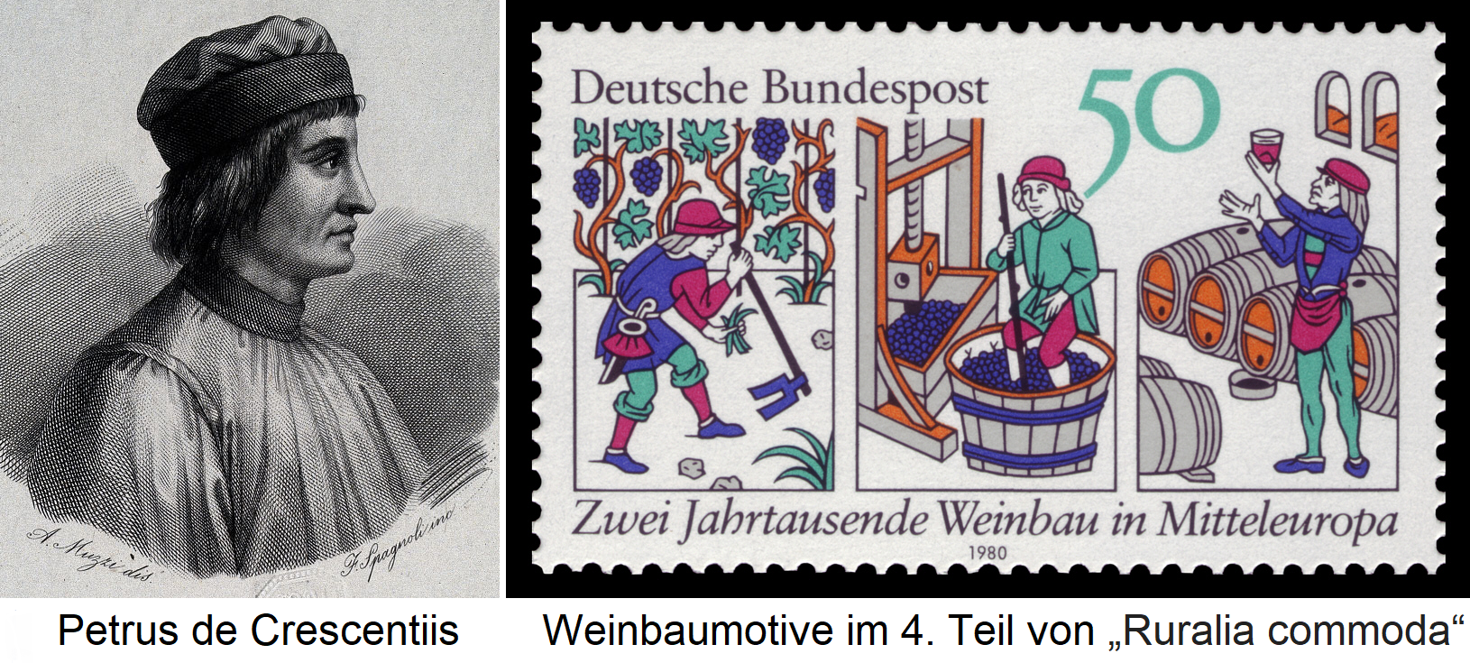 Petrus de Crescentiis - Portrait Drawing and Winemaking (stamp)